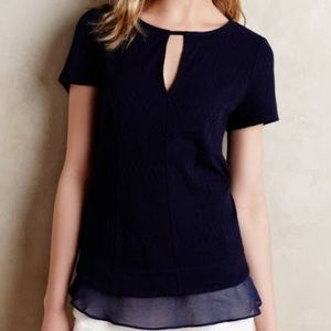 Anthropologie Navy Blue Keyhole Textured Top